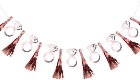 Ginger Ray Team Bride - Tassel slinger met kwasten en ringen voor vrijgezellenfeest - rosé goud - 2 meter Valentinaa
