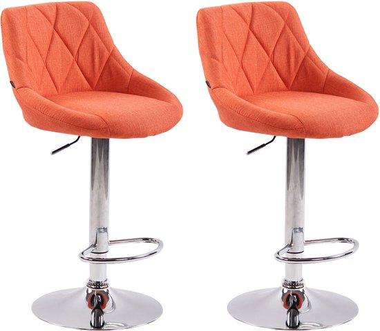 Clp Lazio Set van 2 barkrukken - Stof - Oranje