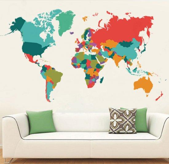 bol.com | Muursticker - Gekleurde wereldkaart - Wanddecoratie ...
