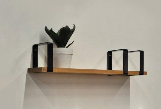 Wandplank Zwart Metaal.Bol Com Lente Label Tube Shelf Wandplank Zwart Eikenhout