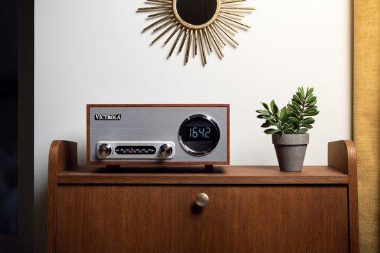 Victrola VC-100 Retro Radio Wekker Bluetooth Mahonie