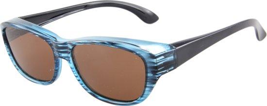 c7b781443071bf Overzetzonnebril Gepolariseerd - UV 400 bescherming Cat. 3 - Glazen 60 mm -  Blauw -