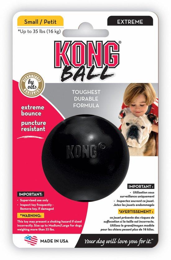 Kong x-Treme Rubber Bal Small - Bal - 166 mm x 102 mm x 56 mm - Zwart