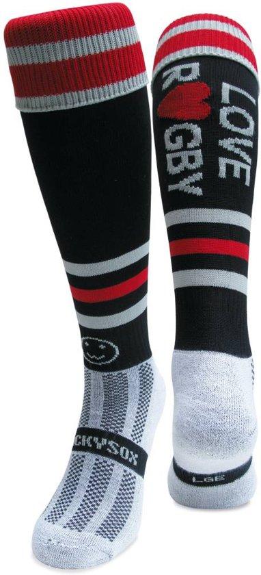 WackySox Love rugby sokken Zwart / Rood / Wit - 30-34