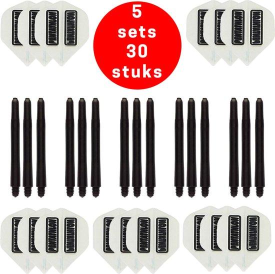 Dragon Darts - 5 sets (15 stuks) Pentathlon darts flights - super stevig - wit - incl. 5 sets (15 stuks) - medium - darts shafts - zwart