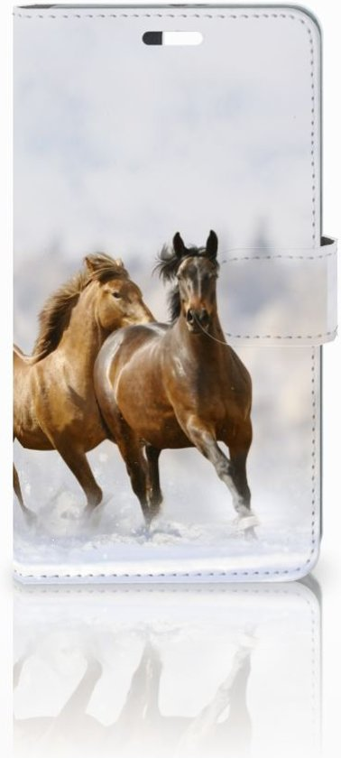Huawei P9 Plus Uniek Hoesje Paarden met 3 Opbergvakjes