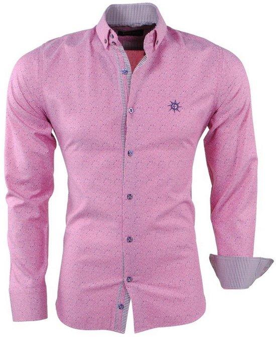 Roze Heren Overhemd.Bol Com Ferlucci Heren Overhemd Gestippeld Puglia Slim Fit