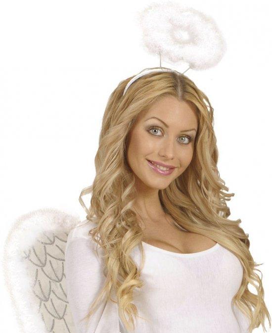Engeltjes diadeem wit met halo
