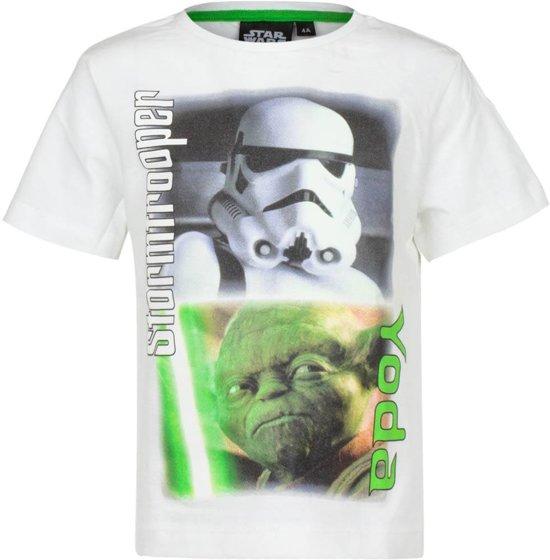 T-Shirt Star Wars - Stormtrooper & Yoda (Wit) Disney - 102cm / 4 jaar