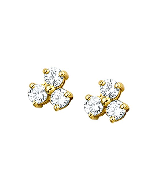 The Jewelry Collection Oorknoppen Zirkonia - Geelgoud