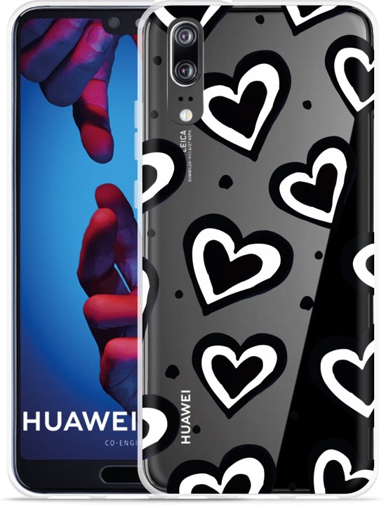Huawei P20 Hoesje Watercolor Hearts
