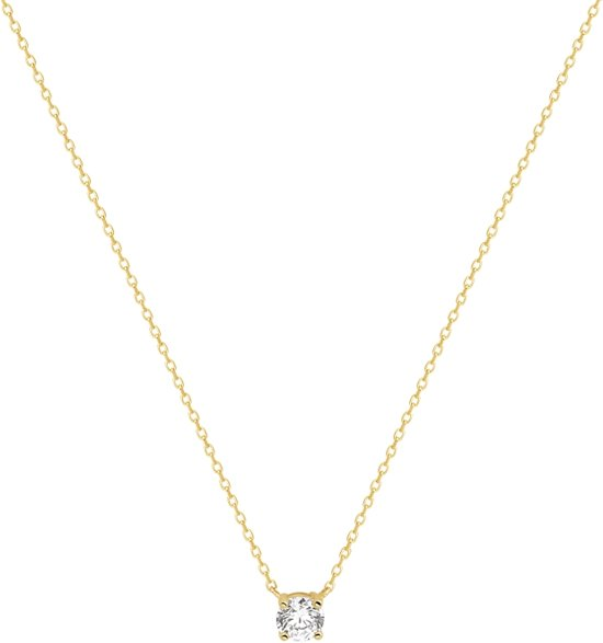 The Jewelry Collection Ketting Zirkonia 0,8 mm 42 cm - Geelgoud (14 Krt.)