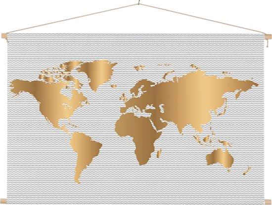 Wereldkaarten.nl - Wereldkaart Goud Golven Schoolplaat Muur decoratie 90x60 cm platte latten