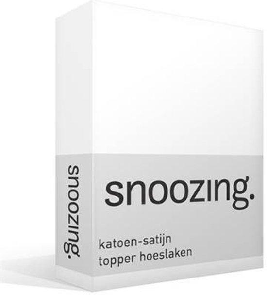 Snoozing - Katoen-satijn - Topper - Hoeslaken - Tweepersoons - 120x220 cm - Wit