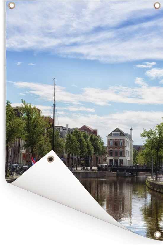 Prachtige lucht boven de Nederlandse stad Groningen Tuinposter 60x90 cm - Tuindoek / Buitencanvas / Schilderijen voor buiten (tuin decoratie)