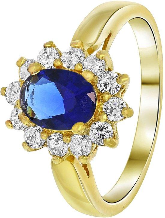 Lucardi - Nouveau Vintage - Goldplated ring sapphire met zirkonia