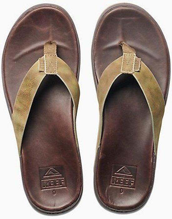 bol | reef contoured voyage le bruin groen slippers heren - maat 46