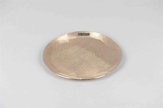Rasteli - Dienblad - Serveerblad - Decoratieve schaal - Goud look - Aluminium - Ø22xH1,5cm - Gold Mink - ronde alu schaal S