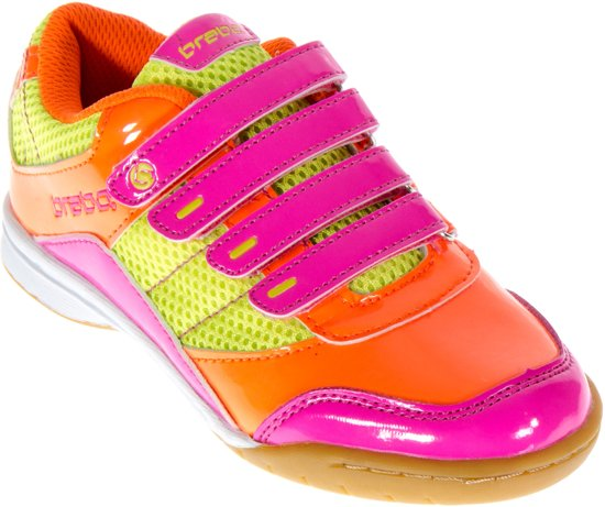 Velcro Brabo - Chaussures En Cuir De Hockey - Junior - Orange, Rose, Citron Vert - Taille 35