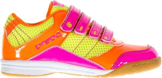 Velcro Brabo - Chaussures En Cuir De Hockey - Junior - Orange, Rose, Citron Vert - Taille 35