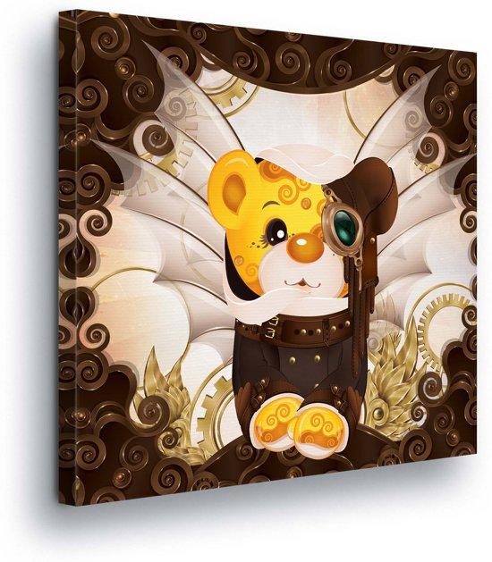 Monocle Bear Canvas Print 80cm x 80cm