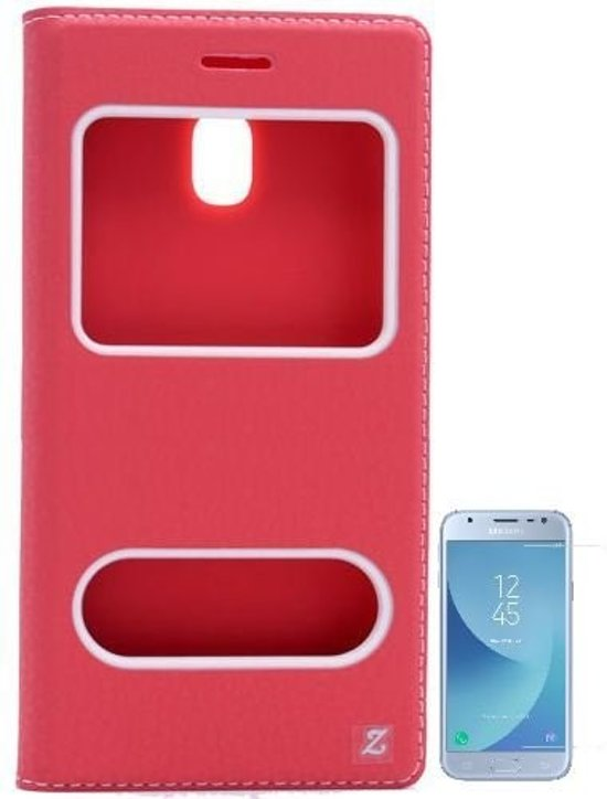 Teleplus Samsung J3 Pro Galaxy Dual Window Case Red + Glass Screen Protector hoesje