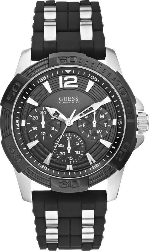 GUESS Watches -  W0366G1 -  horloge -  Mannen -  RVS - Zwart -  45  mm