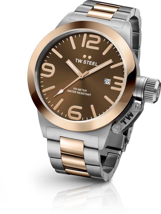 TW Steel CB152 Canteen Bracelet Collection - Horloge -  Staal - 50 mm - Zilverkleurig