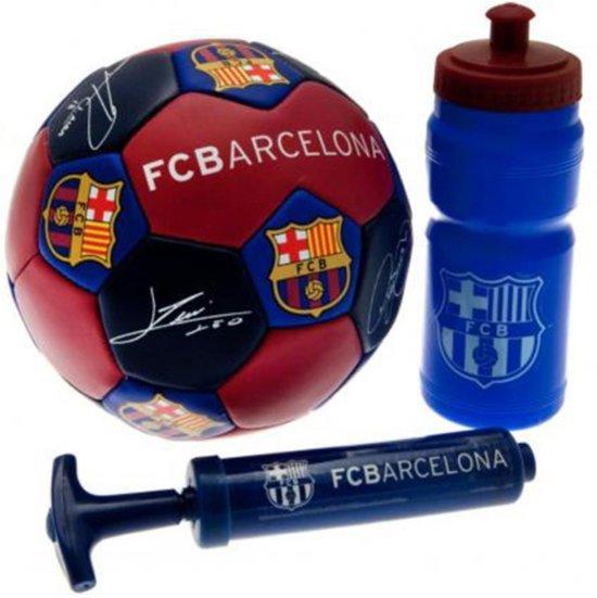 FC Barcelona - Voetbalset - set 3 stuks (Kleine bal met handtekeningen, pomp en drinkfles)