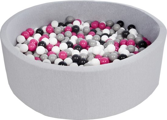 Ballenbak - stevige ballenbad - 125 cm - 600 ballen Ø 7 cm - wit, roze, grijs.