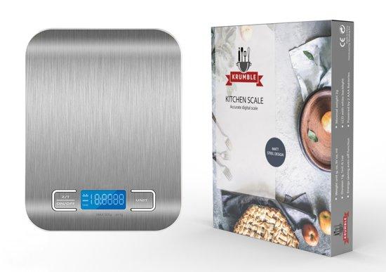Krumble Digitale Precisie Keukenweegschaal RVS 5kg – nauwkeurige kook weegschaal met doorweegfunctie (TARE) – 1 gram precisie tot 5000 gram