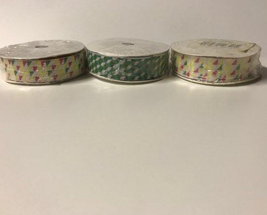 3 rollen Decoratatielint - 2 kleuren