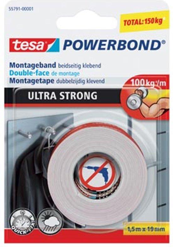 Tesa 55791 Powerbond Ultra Strong montagetape formaat 1,5 m x 19 mm blisterverpakking