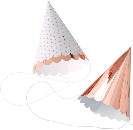 Feest hoedjes - Rosé goud & wit (6 stuks) Valentinaa