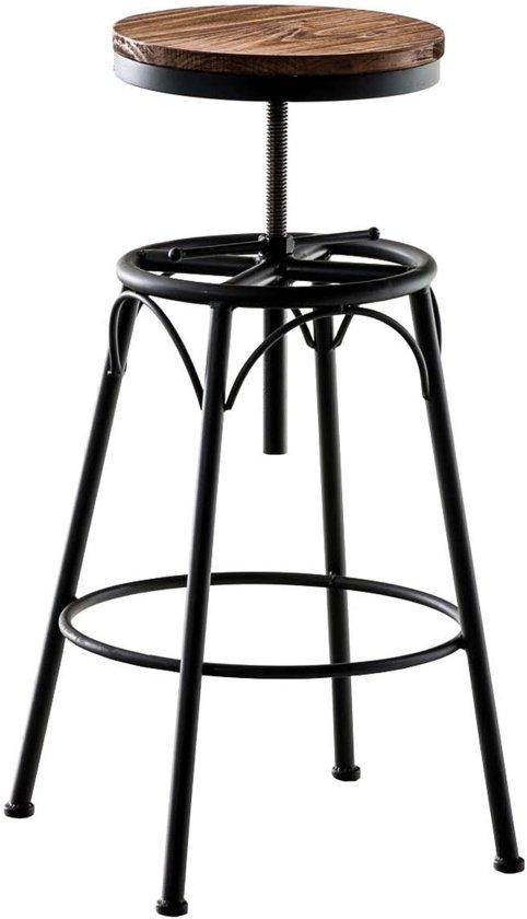 Clp Barkruk BEAM - industrial look industry, combinatie van hout en metaal, rond zitvlak, zonder leuning - kleur onderstel : zwart