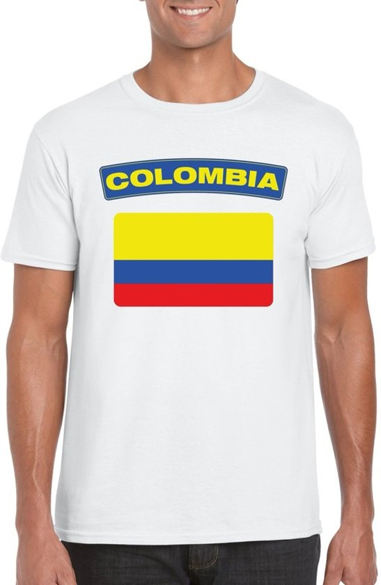 Colombia t-shirt met Colombiaanse vlag wit heren M