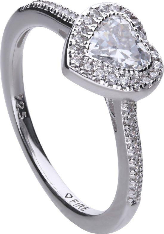 Diamonfire - Zilveren ring met steen Maat 17.5 - Hart - Rand van zirkonia - Pav' bezet