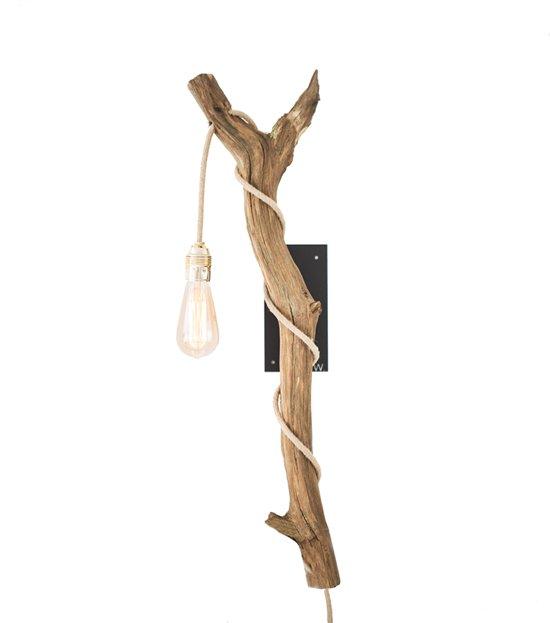 Uitzonderlijk bol.com | Houten boomstronk wandlamp met kooldraad gloeilamp  @AE72