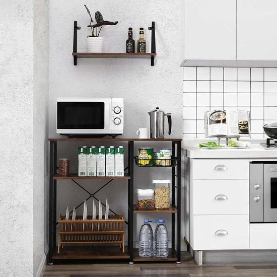 Vintage Keukenmeubel Met Metalen Frame Keuken Kast Inclusief Mandje En 6 Haakjes 90x40x84cm Zwartbruin
