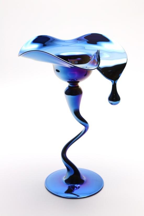 Prachtige kaarsenhouder met druppel metallic blauw