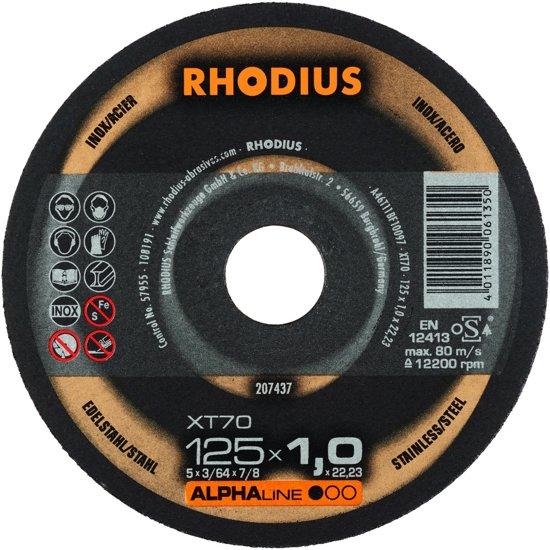 RHOD slijpschijf XT70, doorslijpen, diam schijf 125mm, dikte 1mm