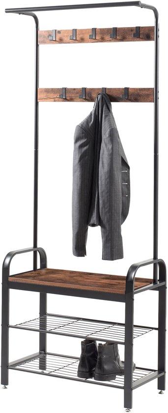 Garderoberek met Kapstok en Schoenenrek in Metaal met Vintage Look - 9 Demonteerbare Haken - 72x34x183cm - Zwart