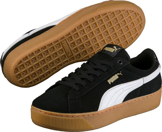 PUMA Sneakers Vikky Platform 363287 10  - Dames - Black-White-Metallic Gold - Maat 4