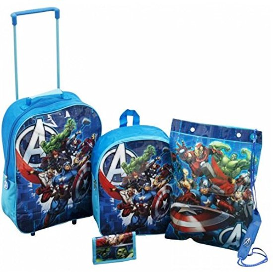 4 delige set Marvel THE AVENGERS Trolley Rugzak Zwemtas Portemonnee