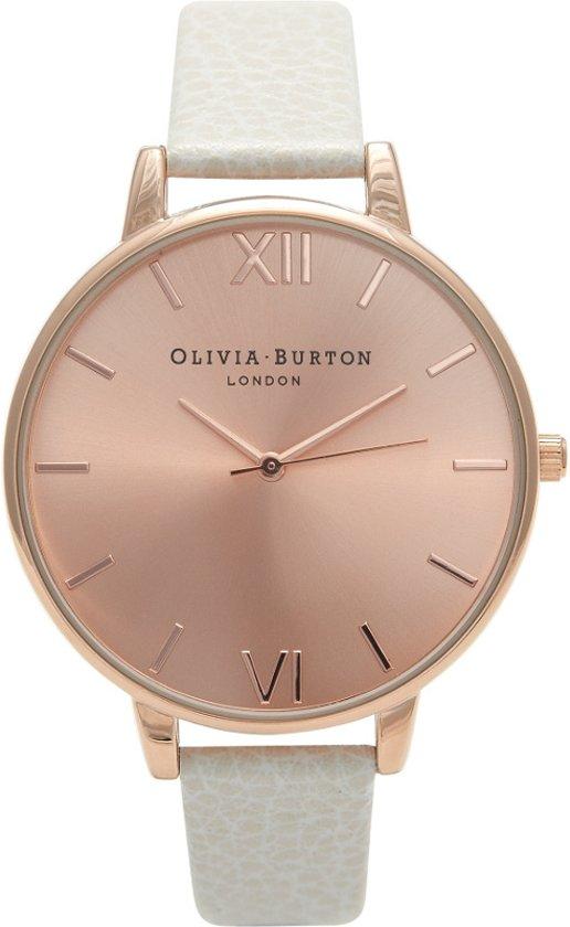 Olivia Burton Big Dial OB13BD11 - Horloge - Leer - Wit -  Ø 38 mm