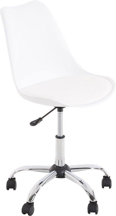 Clp Retro design bureaustoel PEGLEG bezoekersstoel  - met verchroomde kruisvoet en kunstleer - wit