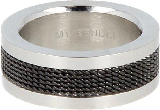 My Bendel - Ring - Edelstaal - BL1026 - Zilver - Zwart - 8 mm