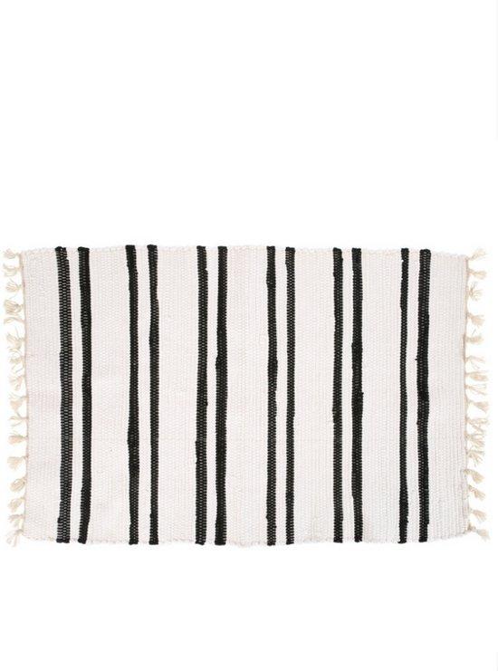Yoshiko - Anhui - tapijt 60x90 - wit/zwart - katoen