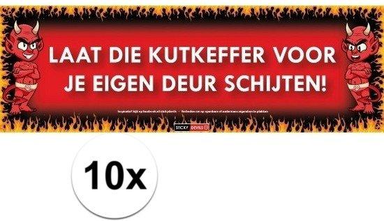 10x Sticky Devil Laat die kutkeffer voor je eigen deur schijten! grappige teksen stickers