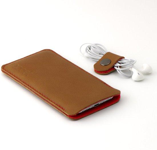 JACCET lederen Galaxy Note 10 hoesje - Cognac kleur leer met rood wolvilt - Handmade in Nederland